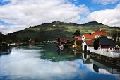 Harbour boat house on Norway Fjord