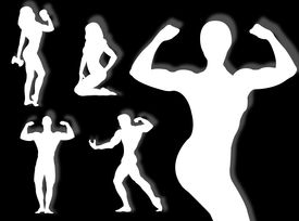 pic of body builder  - Body builder silhouette in different poses and attitudes - JPG