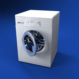 stock photo of washing machine  - fine 3d image of classic washing machine background - JPG