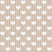 Ecru And White Hearts And Stripes Fabric Background