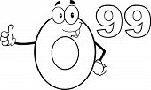 Black And White Price Tag Number 0 99 Cartoon Character Giving A Thumb Up