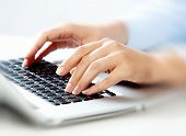 picture of keypad  - Hands of business woman with laptop computer keyboard - JPG