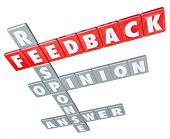 The words Feedback, Response, Opinion and Answer on letter tiles to illustrate the importance of customer and business communication, reviews, ratings and suggestions