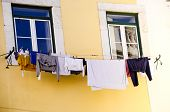 Clothes Hanging On Line In Lisbon Portugal