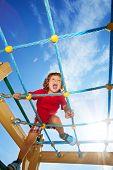 Scream Fun Expression Of Boy On Playground
