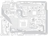 Circuit Board Vector Computer Drawing - Electronic Motherboard