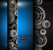 stock photo of robot  - Background metallic gears and cogwheels - JPG