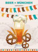 Beautiful Vintage Oktoberfest label. Vector illustration banner wish your text