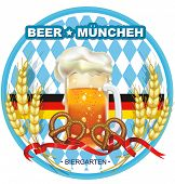 Beautiful Oktoberfest Celebration design with beer and pretzel. Vector illustration label with your