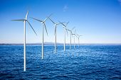 pic of off-shore  - Wind generators turbines in the sea - JPG