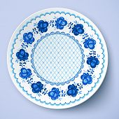 Blue ornamental vector plate in traditional style