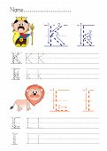 stock photo of letter k  - Practise alphabet handwriting letters K L  on white paperworksheet - JPG