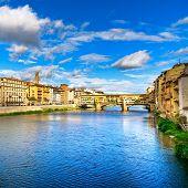 Ponte Vecchio Landmark On Sunset, Old Bridge, Arno River In Florence. Tuscany, Italy. poster