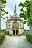 stock photo of leonardo da vinci  - Amboise Saint Hubert gothic chapel Leonardo Da Vinci tomb - JPG