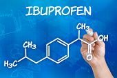 Hand with pen drawing the chemical formula of ibuprofen
