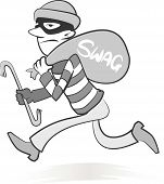 stock photo of swag  - Vector Retro style illustration of a burglar running away with his swag and ill - JPG