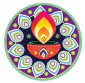 image of kolam  - Indian style oli lamp and pattern design - JPG