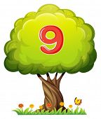 Illustration of a tree with a number nine figure on a white background