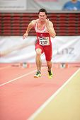 LINZ, AUSTRIA - JANUARY 31 Andreas Meyer (#219 Austria) places 8th in men's 60m event on January 31,