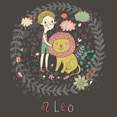 Cute zodiac sign - Leo. Vector illustration. Little boy playing with big lion. Background with flowers and clouds. Doodle hand-drawn style in dark colors
