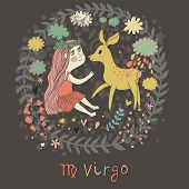 Cute zodiac sign - Virgo. Vector illustration. Little beautiful girl with long hair playing with lov