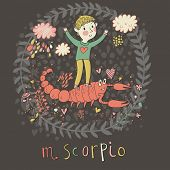 Cute zodiac sign - Scorpio. Vector illustration. Little boy playing with big pink scorpion. Background with flowers and clouds. Doodle hand-drawn style in dark colors