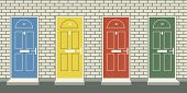 Editable vector illustration of four colorful front doors