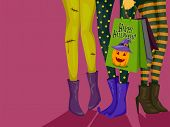 Halloween Illustration of Girls Dressed in Halloween Costumes Carrying Shopping Bags with a Hallowee