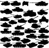 Set Of Tanks Silhouettes