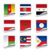 Vector set of world sticker flags