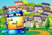 image of get well soon  - Illustration of a monster at the hilltop with a get - JPG