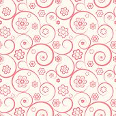Pink Seamless Pattern. Flowers And Swirls On White Background