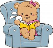 foto of storybook  - Illustration of a Cute Baby Bear Reading a Storybook - JPG