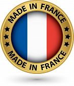 Made In France Gold Label, Vector Illustration