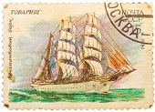 Stamp From The Ussr Shows Image Of The 4 Masted Bark Tovarich I