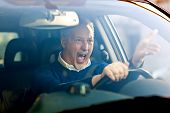 stock photo of yell  - Angry driver - JPG