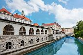 picture of arcade  - Ljubljana Market arcade on the Ljubljanica river - JPG