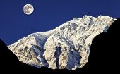 Full moon over Himalaya Mountains In Nepal.