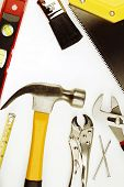 Closeup of assorted work tools