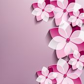 picture of sakura  - Floral festive background with pink 3d flowers sakura - JPG