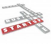 Startup Words Letter Tiles Business Venture Enterprise Company