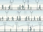 Horizontal Banners Of Embankment With People.
