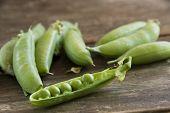 Fresh Peas On A Farm Table