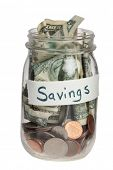 Savings jar on white background