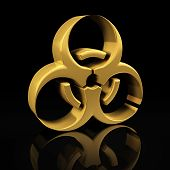 stock photo of biohazard symbol  - Biohazard gold symbol on a black background with reflection - JPG