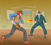 Cowboy engaged in a gunfight