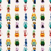 Sweet Cat Family Seamless Pattern