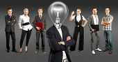 Idea cyber space concept. Lamp Head and Business team against different backgrounds