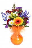 Bouquet of fresh colorful flowers cutout on white background