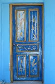 Greece Architecture Detail - Door In Blue Color